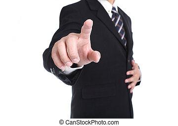 ビジネスマン, ボタン, 感動的である