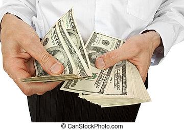 ビジネスマン, 口座, お金, 手