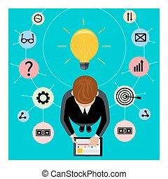 ビジネスマン, 手掛かり, タブレット, デジタル