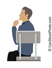 ビジネスマン, 椅子, 光景, 側, モデル