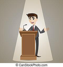 ビジネスマン, 演壇, 漫画, 話し