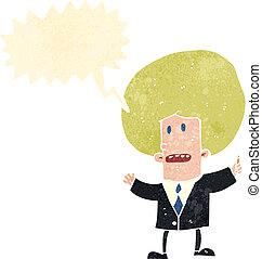 ビジネスマン, 漫画, スピーチ, レトロ, 泡