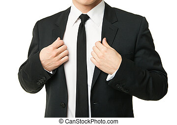 ビジネスマン, 白, 隔離された, スーツ