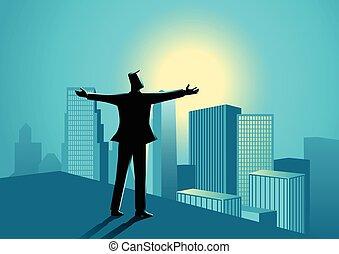 ビジネスマン, 端, 建物, 地位