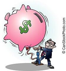 ビジネスマン, 膨らませられた, ドル, 経済