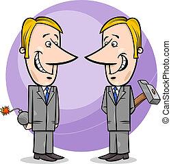 ビジネスマン, 虚偽である, 漫画, 2