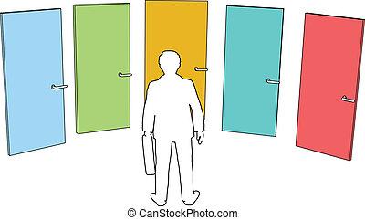 ビジネス決定, 選択, 人, 選びなさい, ドア