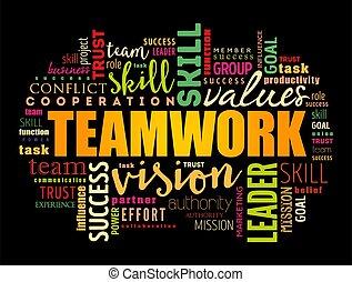 ビジネス, コラージュ, 単語, 概念, 雲, チームワーク