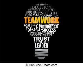 ビジネス, チームワーク, ライト, 概念, 電球, 単語, 雲