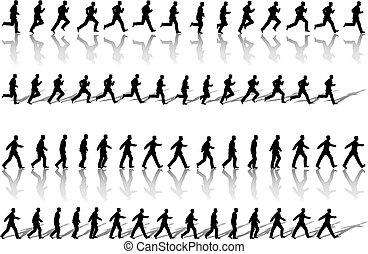 ビジネス, ループ, 歩きなさい, 力, 人, フレーム, 操業, &, 連続