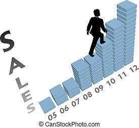 ビジネス, 上昇, マーケティング, の上, チャート, 人, 販売