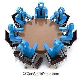 ビジネス 人々, -, の後ろ, セッション, テーブル, ミーティング, ラウンド, 3d