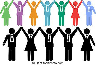 ビジネス 人々, シンボル, 手を持つ, 祝いなさい