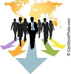 ビジネス 人々, 世界的である, 矢, 前方へ, 進歩