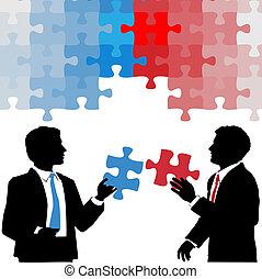 ビジネス 人々, 共同, 解決, 把握, 困惑