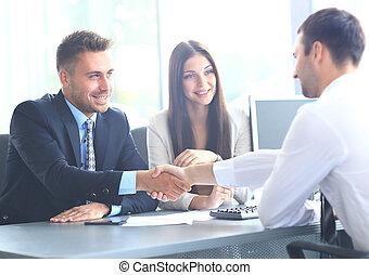 ビジネス 人々, 手, 動揺, の上, 仕上げ, ミーティング