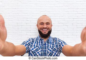 ビジネス, 取得, あごひげを生やしている, 写真, selfie, 人, 偶然