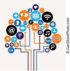 ビジネス, 媒体, 木, 計画, 社会, ネットワーク