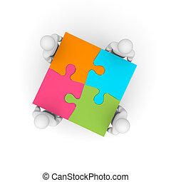 ビジネス, 成功した, puzzle., イラスト, team., 3d