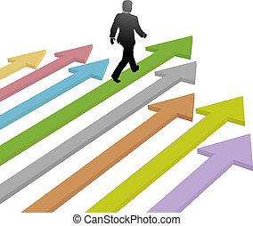 ビジネス, 未来, 矢, 歩く, 進歩, リーダー