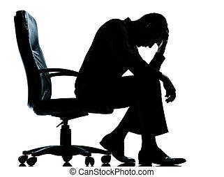 ビジネス, 絶望, 悲しい, 疲れた, 1人の男, シルエット