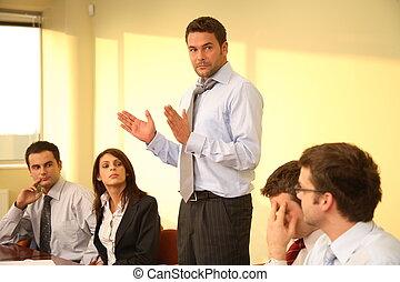 ビジネス, 非公式, -, 上司, スピーチ, ミーティング