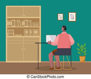 ビジネス, laptop., タイプ, 女, 女性実業家, モデル, コンピュータ, 机, 仕事, マネージャー