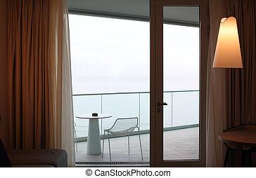 ビュー。, ドア, 暮らし, balcony., ガラス, 海, 部屋
