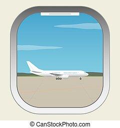 ビュー。, 窓, 航空機, 照明器