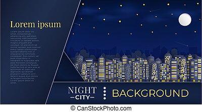 ビュー。, 超高層ビル, パノラマ, night., 都市の景観, グループ