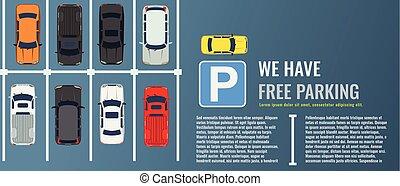 ビュー。, 都市, 別, グループ, 平ら, 自動車, 上, banner., イラスト, 公衆, ベクトル, 網, たくさん, ポスター, car-park., 駐車, ∥あるいは∥