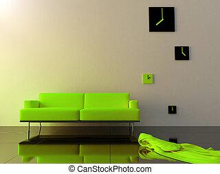 ビロード, 地域, 時計, ソファー, -, 緑, 時間, 内部
