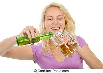 ビール, 女, ブロンド, 彼女, 手