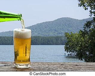 ビール, 楽しみなさい, 景色。, 海