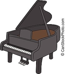 ピアノ, イラスト, 黒