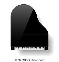 ピアノ, 壮大, 黒いトップ, 光景