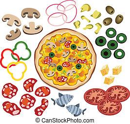 ピザ, ベクトル, デザイン, あなたの, 原料