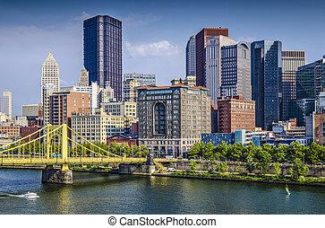 ピッツバーグ, アメリカ, 上に, ペンシルバニア, 日中, 現場, ダウンタウンに, river., allegheny