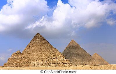 ピラミッド, パノラマ, 偉人, giza., 位置を定められた
