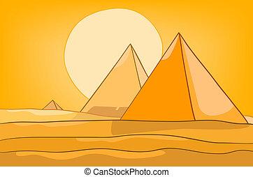 ピラミッド, 漫画, 風景, 自然