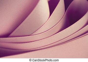 ピンクの朱子織, 生地, 波