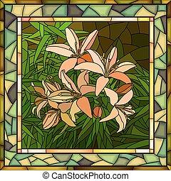 ピンクの花, ベクトル, lilies., イラスト