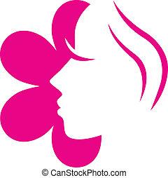 ピンクの花, ), (, 隔離された, 顔, 女性, 白, アイコン