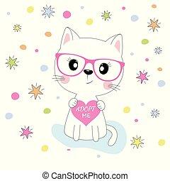 ピンク, かわいい, 円, カラフルである, 隔離された, ねこ, バックグラウンド。, 星, 女の子, ガラス