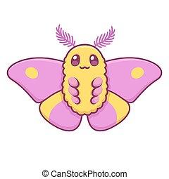 ピンク, かわいい, moth, 漫画