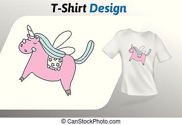 ピンク, の上, 隔離された, tシャツ, バックグラウンド。, ベクトル, 夢のようである, 一角獣, デザイン, 白, print., template., mock, テンプレート