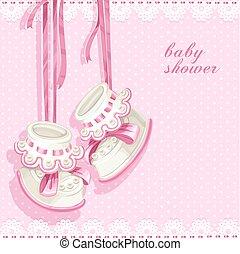 ピンク, シャワー, カード, 毛糸編み幼児靴, 赤ん坊
