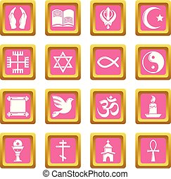 ピンク, セット, アイコン, ベクトル, 宗教, 広場
