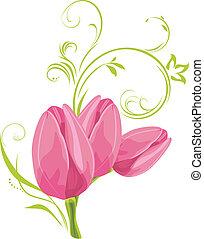 ピンク, チューリップ, 小枝, 3