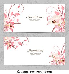 ピンク, デザイン, 招待, カード, ユリ, あなたの